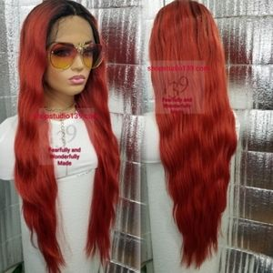 Red hot ombre extra long human hair wig